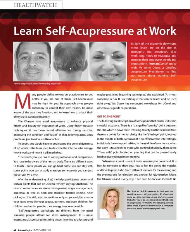 Acupressure at work, Human Capital Magazine, Anne Cossé